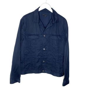 THEORY Dayton Navy Cotton Button Up Utility Jacket